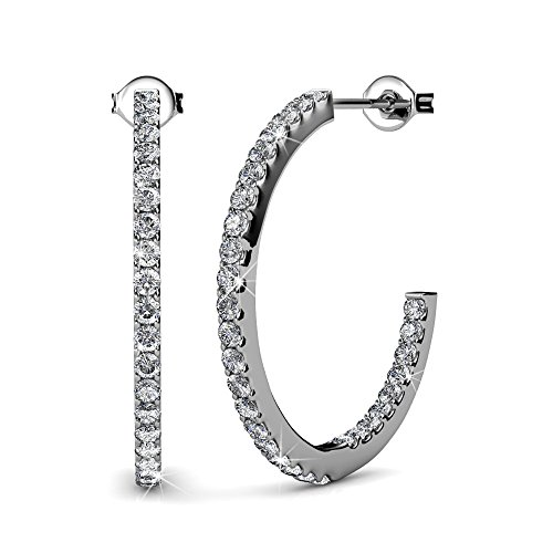 Cate & Chloe Rosalyn Beautiful 18k White Gold Hoop Earrings with Swarovski Crystals, Sparkling Silver Hoops Earring Set, Solitaire Diamond Crystals, Wedding, Anniversary, Jewelry (White Gold)