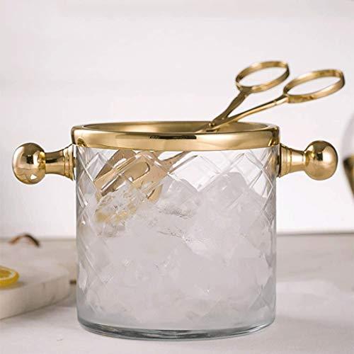 YWSZJ Eiskübel mit rostfreier Stahlzange Geätzter Italienischer Glaskübel-Geschirrspüler im Sternschliff-Design