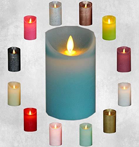 LED Echtwachskerze Kerze viele Farben mit Timer flackender Docht Wachskerze Kerzen Batterie, Farbe:Aqua, Größe:10 cm