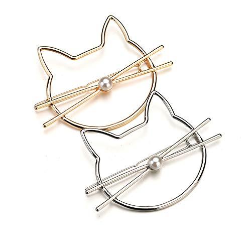 Haarschmuck Kopfschmuck Haarspange Hochzeitshaarschmuck Accessories Lady Hair Card Süße Süße Hellokitty Set Perle Hohl Schmuck (Packung mit 2 Stück)