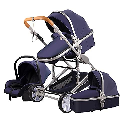 Sillas de Paseo Cochecito de Bebé 3 en 1 Triciclo Baby Walker Cochecito de Alto Paisaje Cochecitos Plegables Carrito de Bebé para Bebé 0-36 Meses (Azul)
