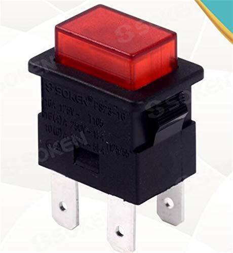 HAIQINGMY Wippschalter Mix PS23-16 PS21-16 Bootschalter 250V 16A AC TÜV-Zertifizierung Rocker-Schalter Schalterzubehör (Color : PS21 16, Size : 2 Gang)