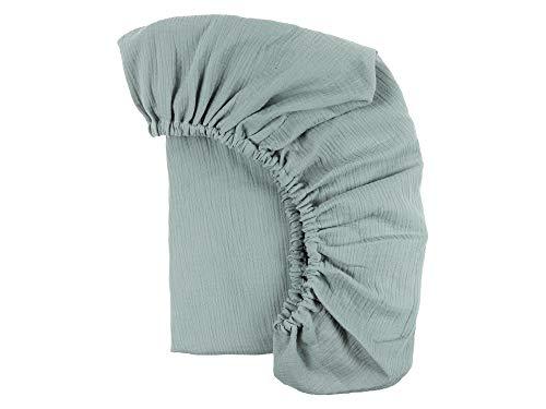 KraftKids Spannbettlaken Musselin Musselin mint aus 100% Baumwolle in Größe 140 x...