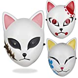 JUZIPI 3PCS Demon Slayer Cosplay Mask Kimetsu no Yaiba Cosplay Costume Japanese Anime Photography Props Toy