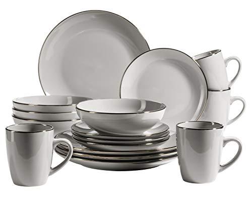 MÄSER 931627 Metallic Rim Modernes Geschirr Set für 4 Personen mit Silberrand, 16-teiliges Kombiservice mit randlosen Coupe-Formen, Grau, Steinzeug