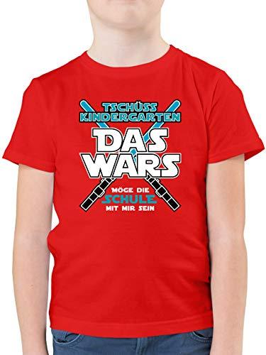 Einschulung und Schulanfang - Das Wars Kindergarten Blau - 128 (7/8 Jahre) - Rot - t-Shirt Kindergarten/Schulkind - F130K - Kinder Tshirts und T-Shirt für Jungen