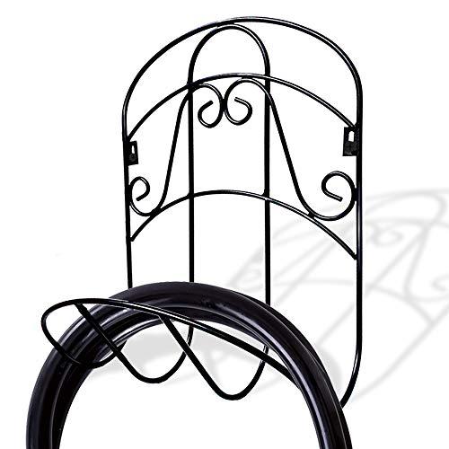 Fosinz Garden Hose Holder Decorative Wall Mounted Hanger Racks Cast Iron Garden Hose Bracket (38 x 30 x 16.5 cm, Black)