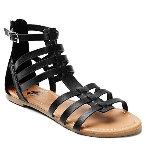 Trary Women's Gladiator Sandals Black 10