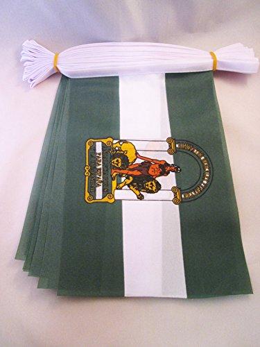 AZ FLAG Guirnalda 6 Metros 20 Banderas de ANDALUCÍA 21x15cm - Bandera ANDALUZA 15 x 21 cm - BANDERINES