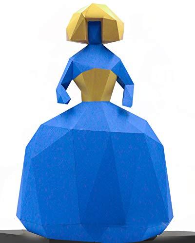 Oh Glam Home Kit DIY Menina Papercraft Kit Cartón 3D Escultura Origami 3D Puzzle 3D PRECORTADO (Azul y Dorado)