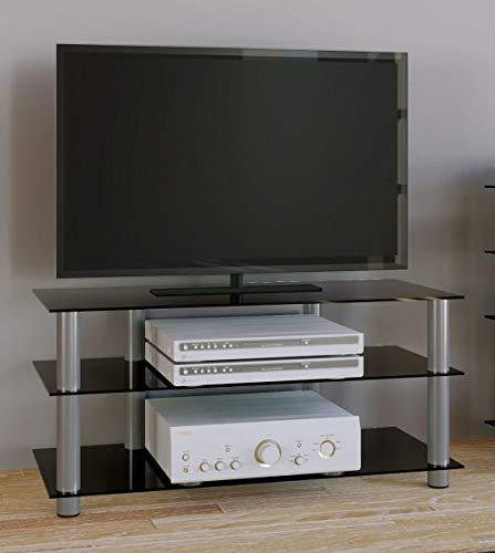 """VCM TV Rack Lowboard Konsole LCD LED Fernsehtisch Möbel Bank Glastisch Tisch Schrank Aluminium Schwarzglas \""""Netasa\"""""""