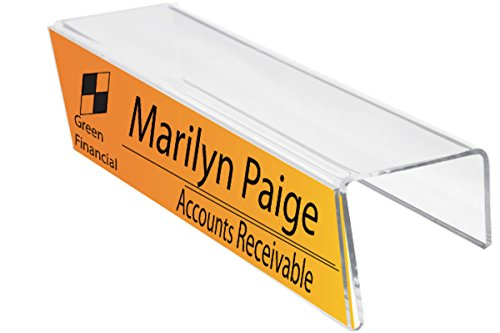 Plastic Products Mfg Single-Sided Cubicle Name Plate Holder 8-1/2 Wide x 2-1/2 high x 2-1/4 deep - PNH085025022 (40 Pack)