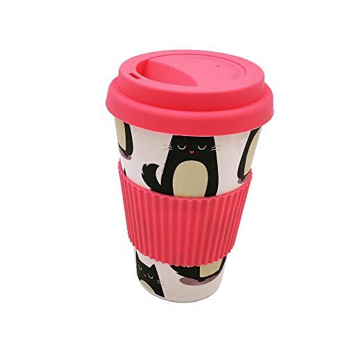 Taza para café de Fibra de bambú (Taza de café ecológica Reutilizable 420 ml, Hecha con Fibra de bambú Natural orgánica) (Rosa)