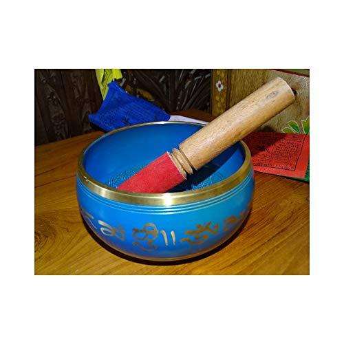 int. d'ailleurs - Cuenco Tibetano Azul con Cinco budas en el Interior (15 cm de diámetro) - BOL006