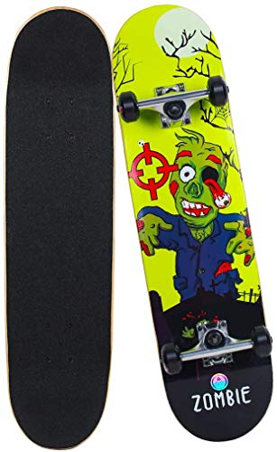 Mitesbony Skateboards for Beginners & Pro, 31'x8' Complete Skateboards Canadian Maple 9 Layers Double Kick Concave Standard Skate Board for Kids Teens & Adults. (Zombie_Green)
