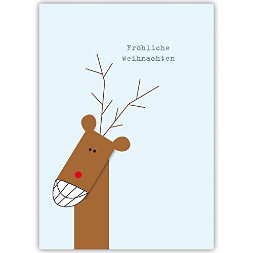 Mooie kerstkaarten met grinsend hert, met hun tekst aan de binnenzijde laten drukken, in 4-, 20-, 100-delige kerstkaarten set als zakelijke kerstgroeten/felicitatie voor Nieuwjaar/kerstkaart aan bedrijfsklanten, zakenpartners, medewerkers: vrolijke kerstmis 20 Weihnachtkarten Blanco binnen.