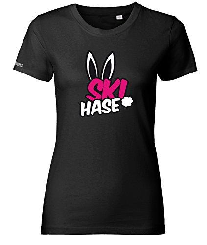 Jayess Ski Hase - Apres Ski Sport - Schwarz - Women T-Shirt by Gr. L