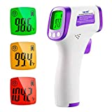 Thermomètre Frontal Infrarouge, Thermometre Medical sans Contact pour Adultes, Enfants, Bébés avec Alerte Fièvre Thermomètre Numérique, Écran LCD, Fonction Mémoire
