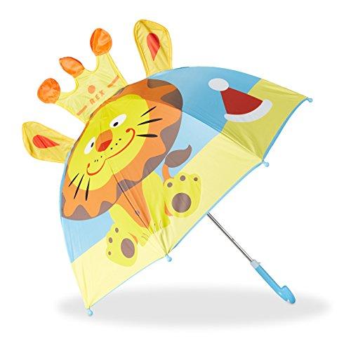 Relaxdays Kinderregenschirm mit 3D Löwe, Regenschirm für Mädchen und Jungen, kleiner Stockschirm ab 3 Jahren