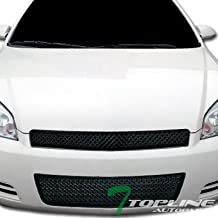 Topline Autopart Matte Black Mesh Front Upper Hood Grill + Lower Bumper Grille ABS For 06-13 Chevy Impala / 14-16 Impala Limited