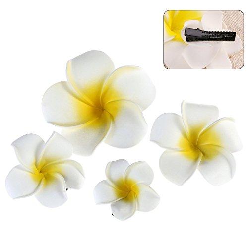 Frcolor 4pcs Hawaiian Plumeria-Blumen-Schaum-Haar-Klipp, Damenmode-Strand-Haar-Zusätze, für Brauthochzeits-Party-Strand-Ferien-Ausstattung, Kleid
