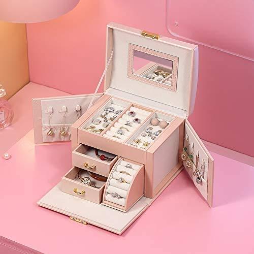 OH Jewelry Box Organizer Large Pu Cojín de Cuero Joyería Anillo Anillo Collar Caja de Alenamiento Caseta de Regalo de Niñas Diseñado para Mujeres Seguro y fuerte
