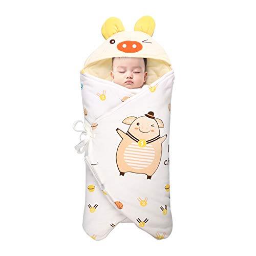 DEEYOTA ベビー寝袋 ベビーおくるみ 赤ちゃん布団 ベビーブランケット 100%綿 保温 ふあふあ 寝冷え防止 出産お祝い かわいい バスポンチョ ベビー寝袋 イェロー
