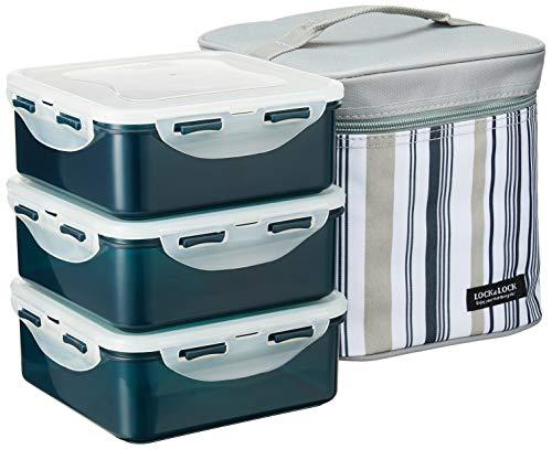 LOCK & LOCK Lunchbox-Set, quadratisch, 3-teilig, mit isolierter Streifentasche, Grau