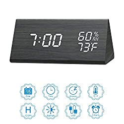 BESWORLDS Digital Alarm Clock, LED Adjustable Brightness Voice Control Desk Wood Alarm Clock, Display Day/Date/Temperature and Humidity USB/Battery Powered, for Back to School, Home, Office, Kids