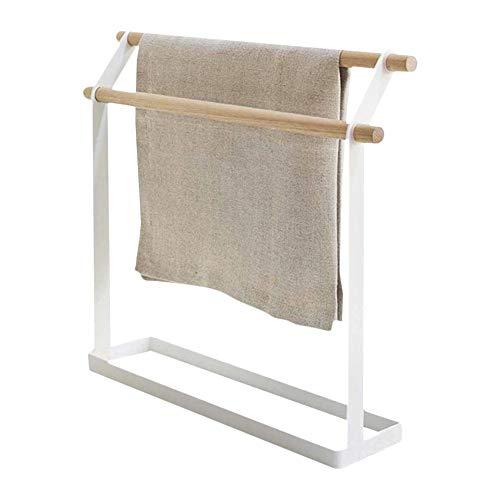 Mongrep - Toallero de bambú con 2 barras, soporte de pie para toallas