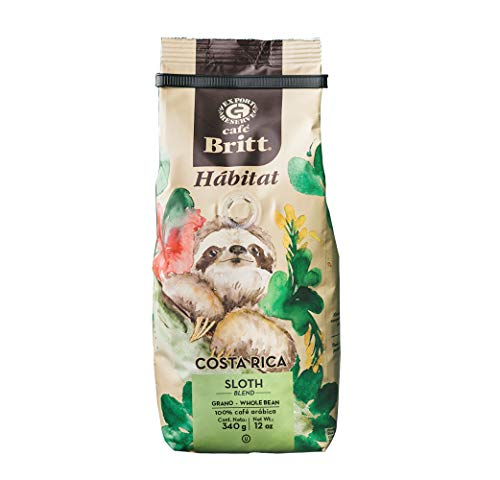 Café Britt® - Costa Rican Habitat Sloth Blend (340 G.) (1-Pack) Whole Bean Arabica Coffee, Kosher, Gluten Free, Gourmet & Medium Dark Roast