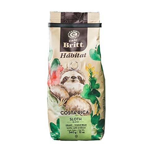 Café Britt® - Costa Rican Habitat Sloth Blend (340 G.) (1-Pack) Whole Bean Arabica Coffee, Kosher, Gluten Free, Gourmet & Medium Dark Roast