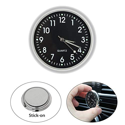 EEEKit Car Clock, Luminous Quartz Analog Watch Universal Pocket Mini Stick-On Clock for Car Boat Bike Home (Black)
