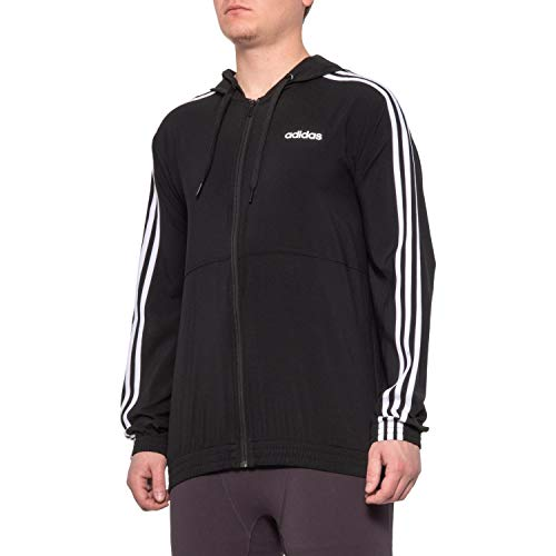 adidas Men's 3-Stripe Hooded Zip-Up Woven Jacket (Black/White, XL)