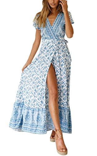ECOWISH Damen Kleider Boho Sommerkleid V-Ausschnitt Maxikleid Kurzarm Strandkleid Lang mit Schlitz Hellblau XL