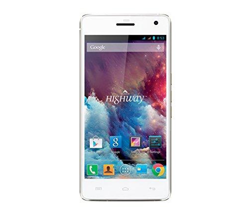 Wiko Highway Smartphone (12,7 cm (5 Zoll) Bildschirm, 16 GB interner Speicher, Android 4.4.2 Jelly Bean) champagner/weiß