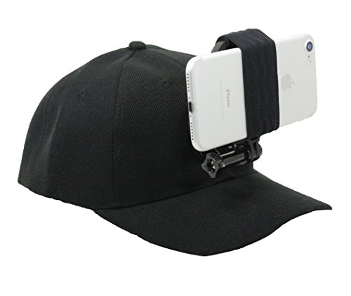 OCTO MOUNT - Baseball Hat Compatible with Smartphone or GoPro Camera Head Mount. Compatible with Any Cell Phone or Action Camera, Regardless of Case. iPhone, Samsung, Nokia, Google and Plus Sizes