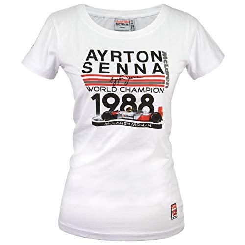 MBA-SPORT Ayrton Senna T-Shirt Dames Monde Champion 1988 Mclaren Blanc - Blanc, XXL