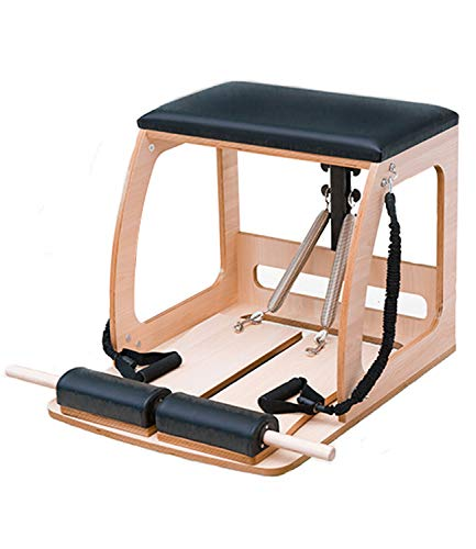 Yihome Eiche Fitness Stuhl Pilates Stabiler Stuhl Pilates Professionelle Trainingsgeräte Pilates Ausrüstungsrahmen Universal Stuhl Hohler Trainingsstuhl aus Holz 76X58X60 cm