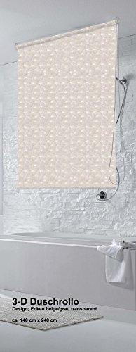 IXX-Design 3D Duschrollo, Duschvorhang, Badvorhang, 140 cm x 240 cm, Kettenzug 4 Farben (Ecken Grau)