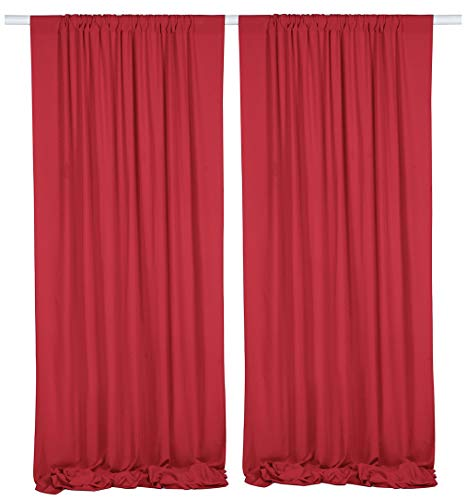 SHERWAY 2 Panels 4.8 Feet x 10 Feet Red Photography Backdrop Drapes, Thick Polyester Window Curtain for Wedding Party Ceremony Stage Decorations