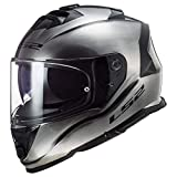 LS2 Assault Solid Motorcycle Helmet Gloss Brushed Alloy XL
