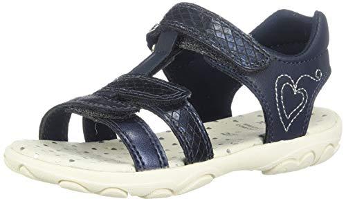 Geox Sandal Cuore J9290B Unisex - Kinder Sandaletten,Jungen,Mädchen Sandalen,Sommerschuh,Sommersandale,Klettverschluss,T-Spange,Navy/Silver,27