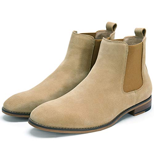 Cestfini Chelsea Slip-on Suede Boots for Men Genuine Leather Chukka Boots, Waterproof Casual Oxford Dress Ankle Bootie E05-CAMEL-10