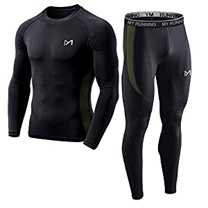MEETYOO Men's Base Layer, Cool Dry Long Sleeve Compression Set,