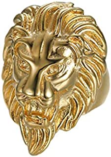 Men's Stainless Steel Rings Hip hop Style lion Head Design Gold-plated Ring Accessories