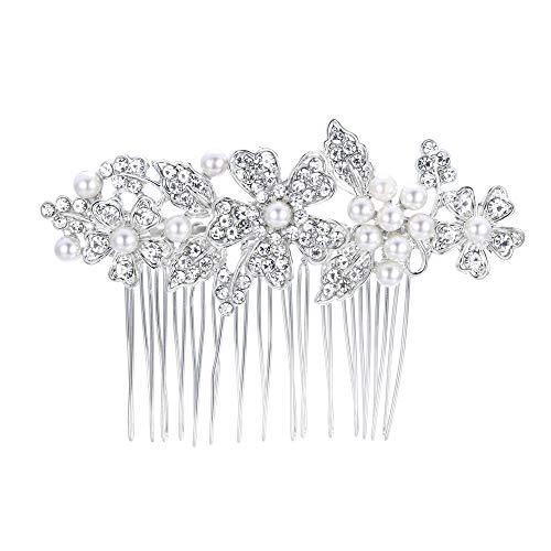 EVER FAITH Damen Haarkamm Österreichischer Kristall Simulierte Perle Hochzeit Blume Blatt Braut Haar Schmuck Klar Silber-Ton (stil4)