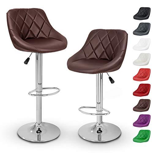 TRESKO Barhocker 2er Set mit Lehne - Barstuhl höhenverstellbar - Hocker für Theke & Küche, Barstühle 360° drehbar - verchromter Stahl, Fußstütze (Braun)