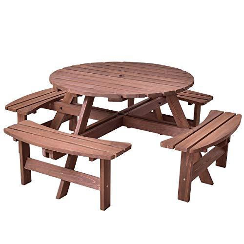 Patio 8 Seat Wood Picnic Dining Seat Bench Set