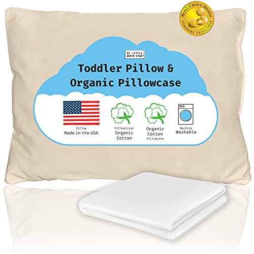 Toddler Pillow with Pillowcase - Organic Kids Pillows for Sleeping Made in USA & Organic Pillowcase - Perfect Travel Pillow - 13x18 Machine Washable Small Pillow for Daycare, Bedding Set, Crib, White